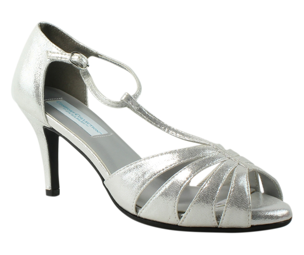 079b316e409e Image is loading Dyeables-Womens-Martina-SilverShimmer-T-Strap-Heels-Size-