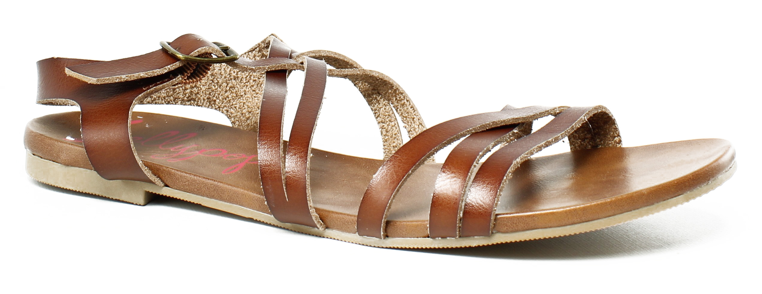 d9c9a20cf1f9 Jellypop Womens Jqgmsm276 CognacBrown Ankle Strap Flats Size 7.5 (375412)