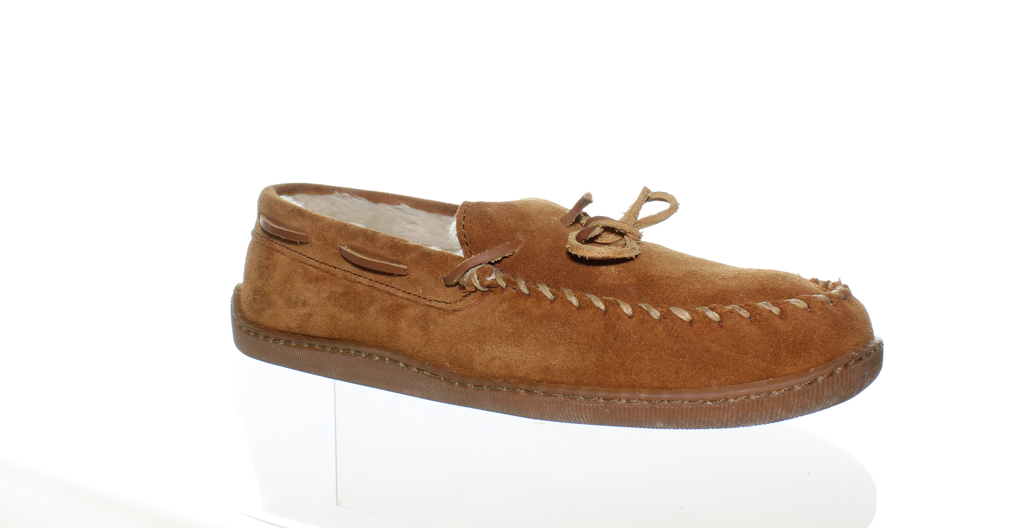 a2b23ff4833 Minnetonka MENS Pile Lined Hardsole Brown Moccasin Slippers Size 11 (116493)