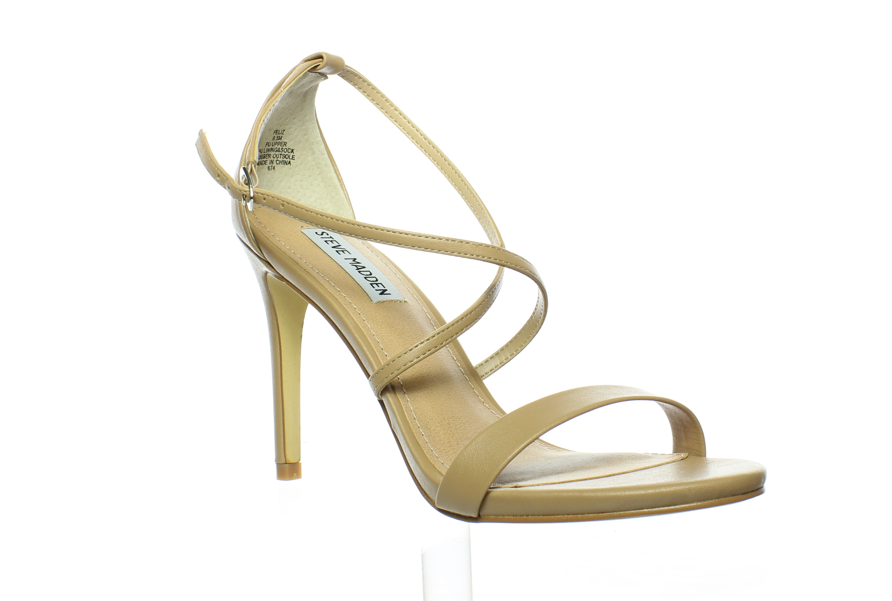 6acd6fb1a10 Steve Madden Womens Feliz Natural Ankle Strap Heels Size 8.5 (15312 ...