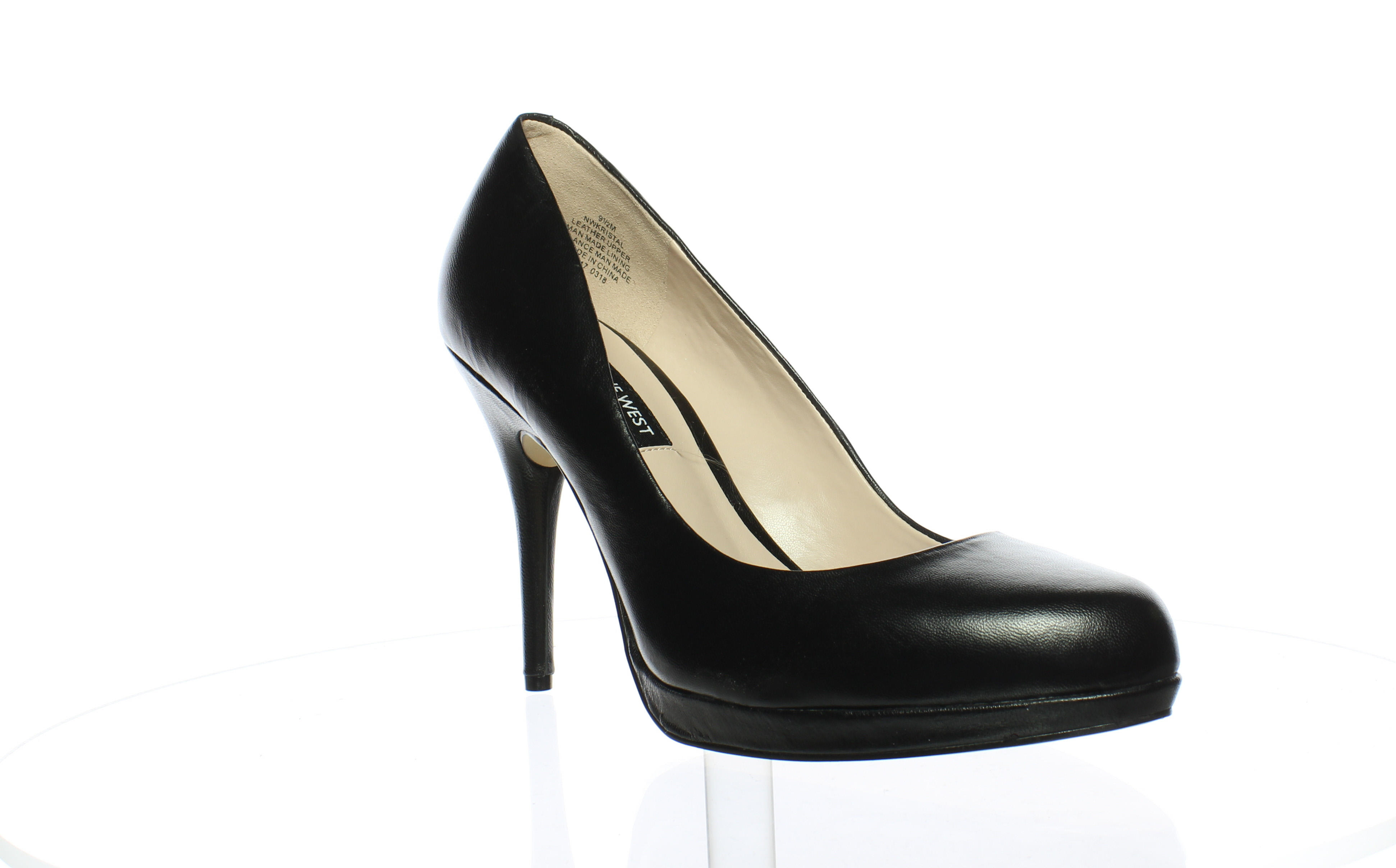 Nine West Womens Kristal Leather Black Leather 9.5 Pumps Size 9.5 Leather (15514) 7a7985