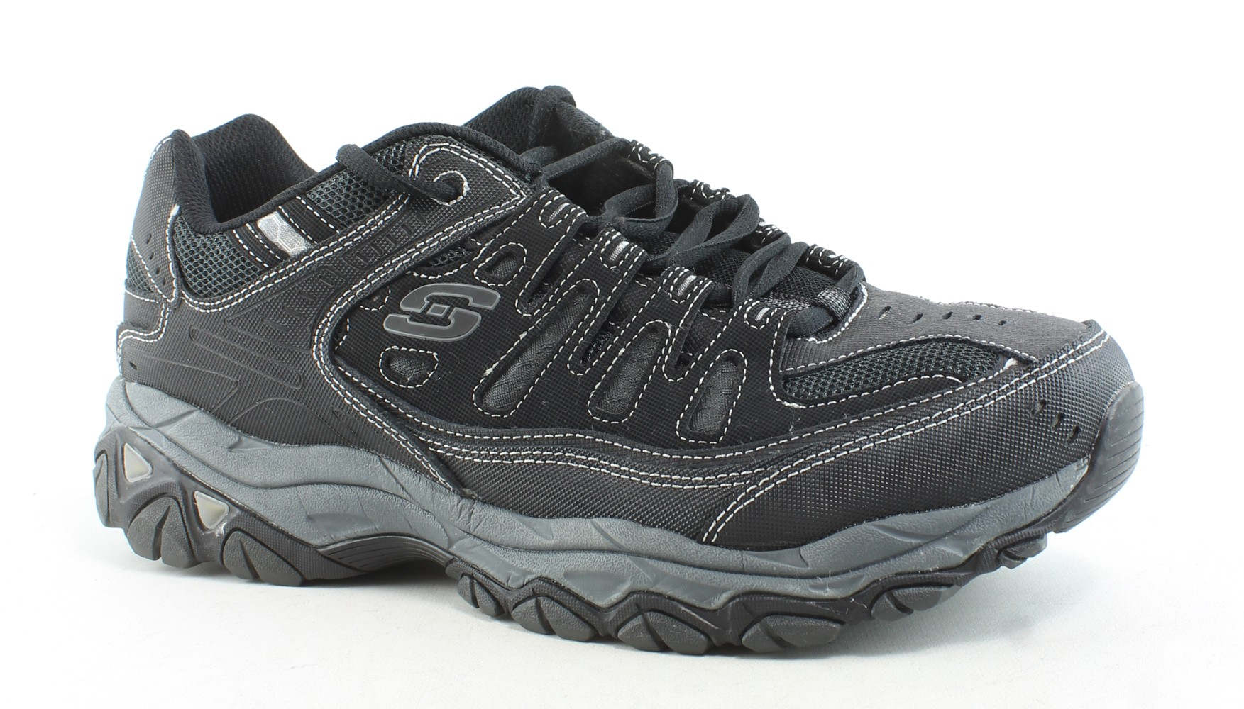 818308a88b82 Details about Skechers Mens Verse Flashpoint Black Gray Walking Shoes Size  12 (E