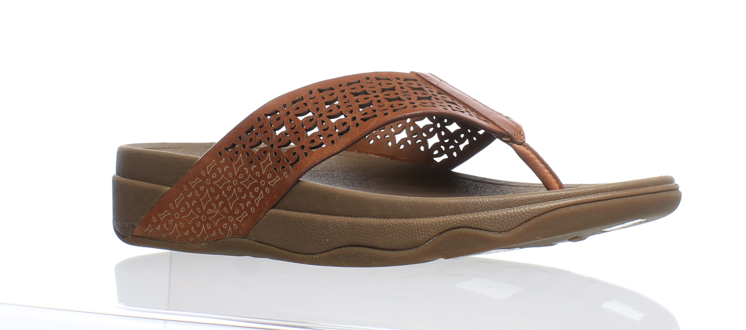 ed6ee234dd86f8 Details about FitFlop Womens Surfa Floral Lattice Dark Tan Flip Flops Size 7  (173217)