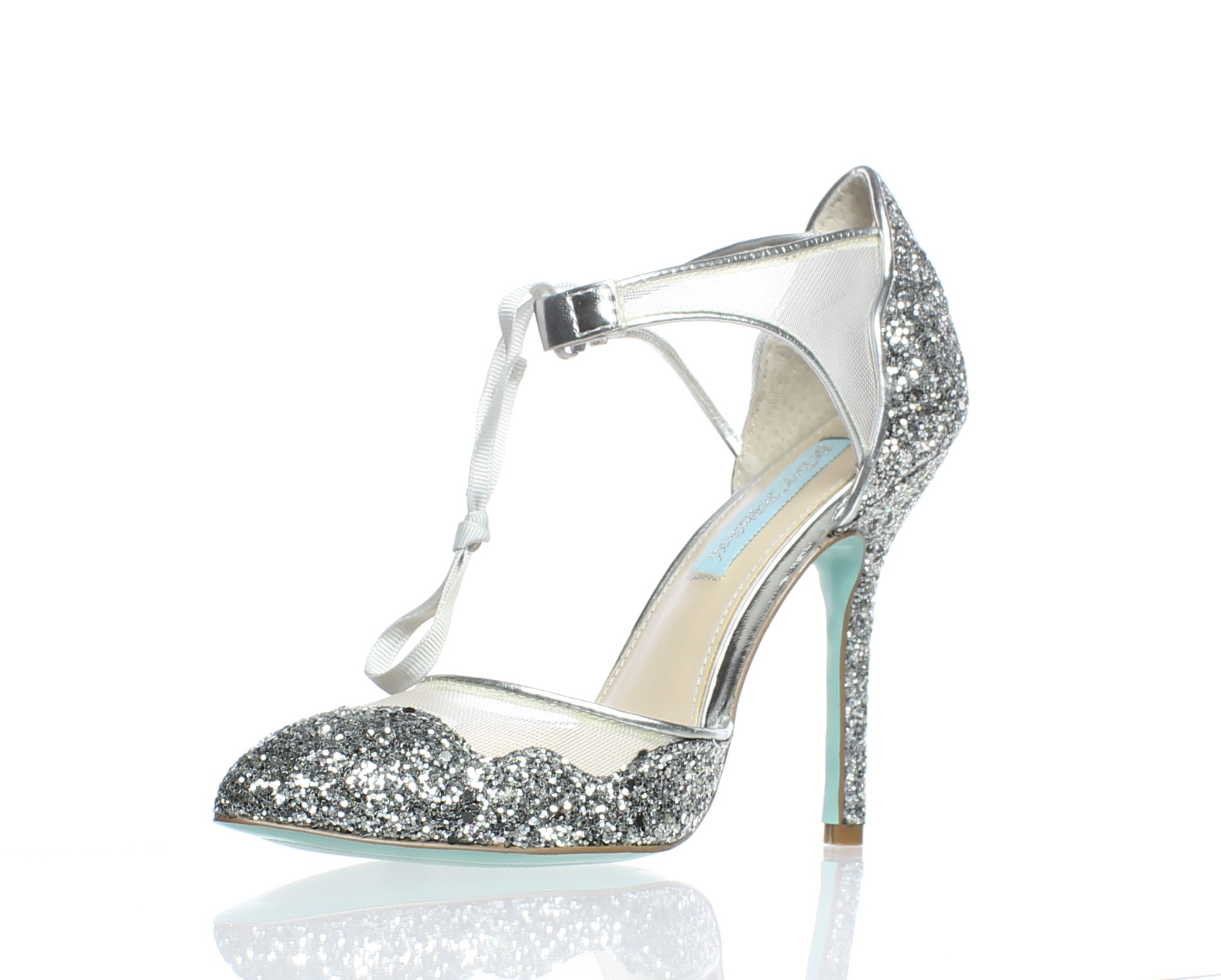f7c3c31345f Blue by Betsey Johnson WOMENS Stela Silver Ankle Strap Heels Size 6 (173301)