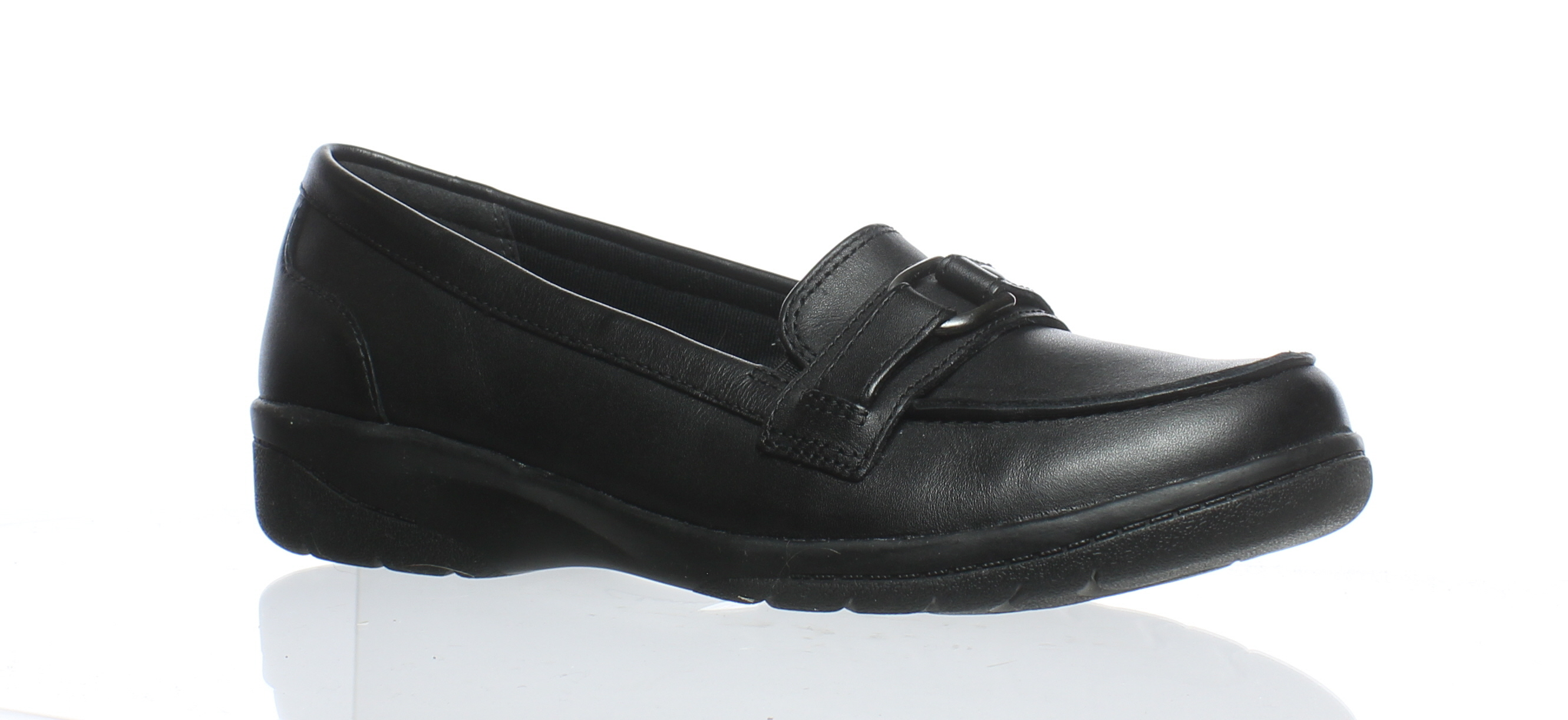 e2c8b127736 Clarks Womens Black Leather Loafers Size 6.5 (C