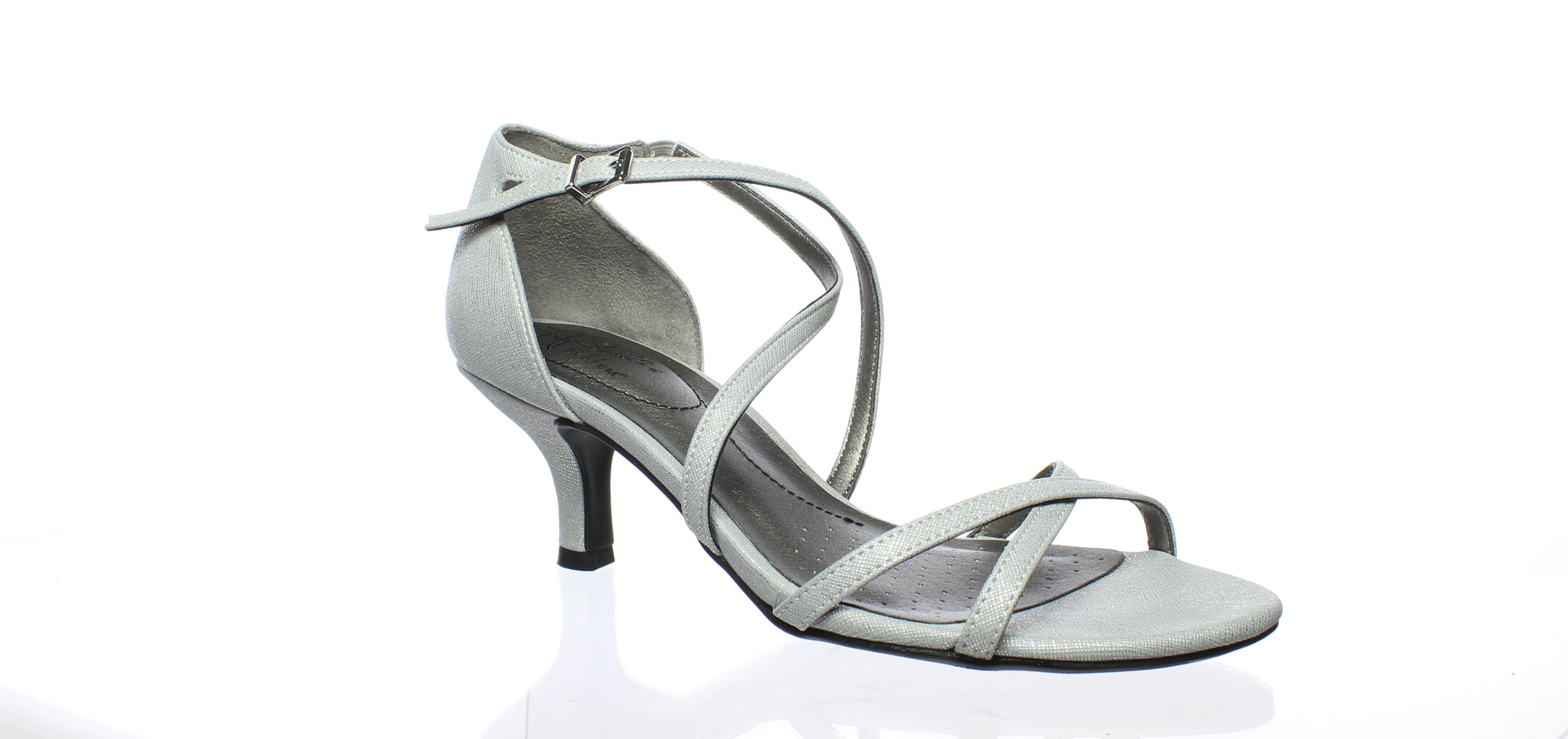 84f5d552822 LifeStride Womens Flaunt Silver Ankle Strap Heels Size 7 (187560)