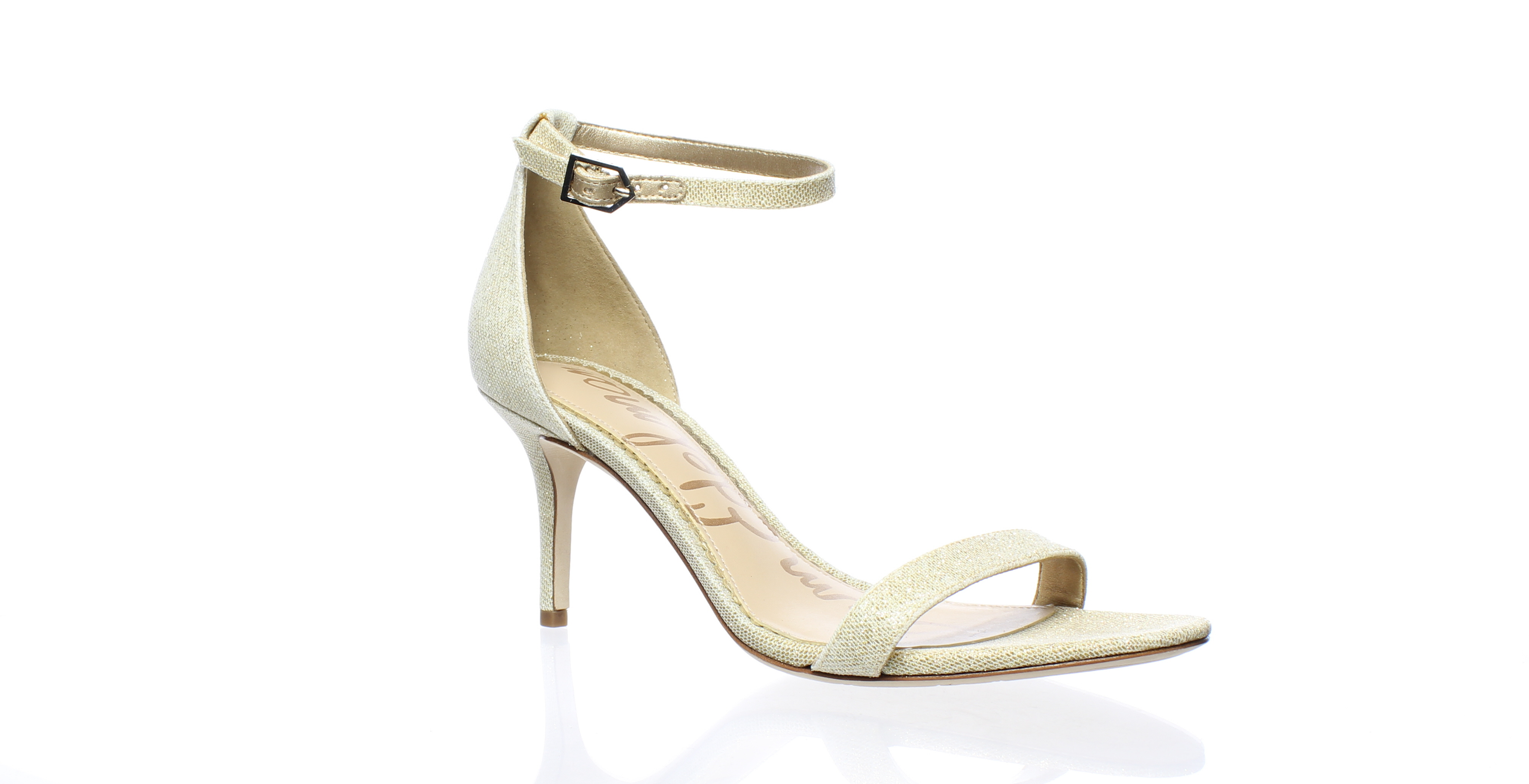 6366bbead Details about New Sam Edelman Womens Patti Gold Ankle Strap Heels Size 6.5