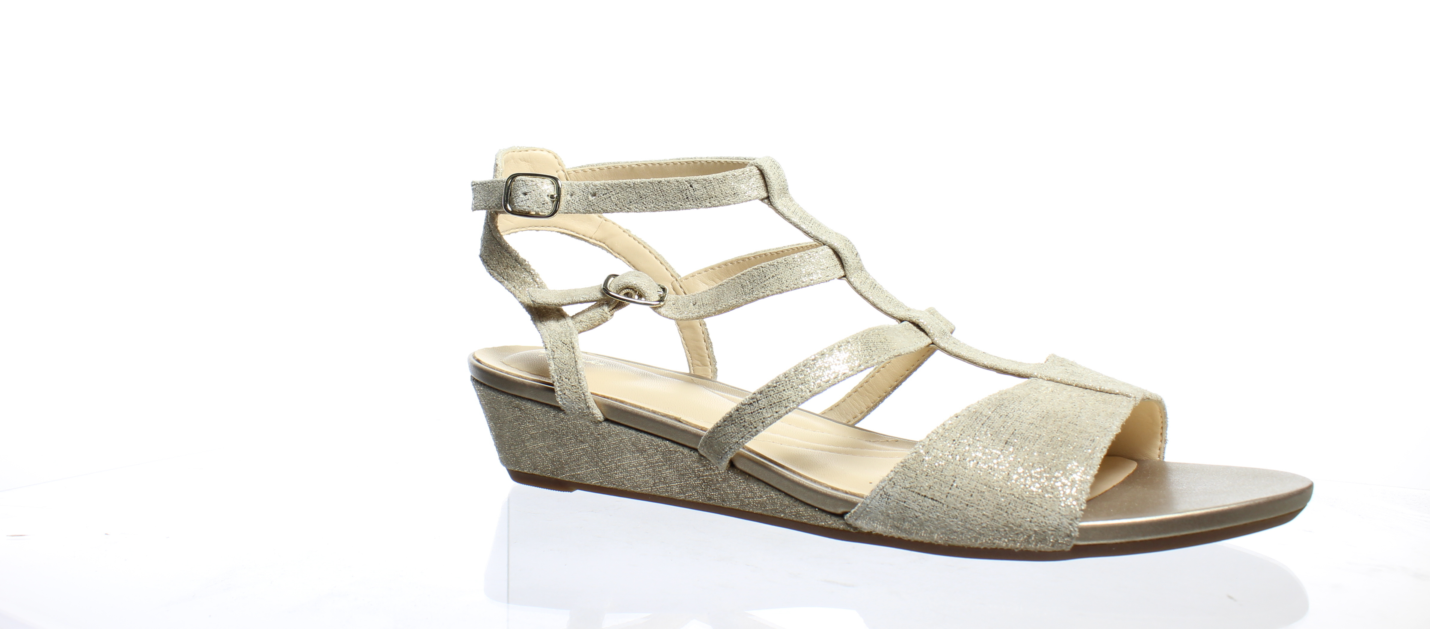 4f45913f67f4 Clarks Womens Parram Spice Gold Suede Ankle Strap Heels Size 9.5 ...