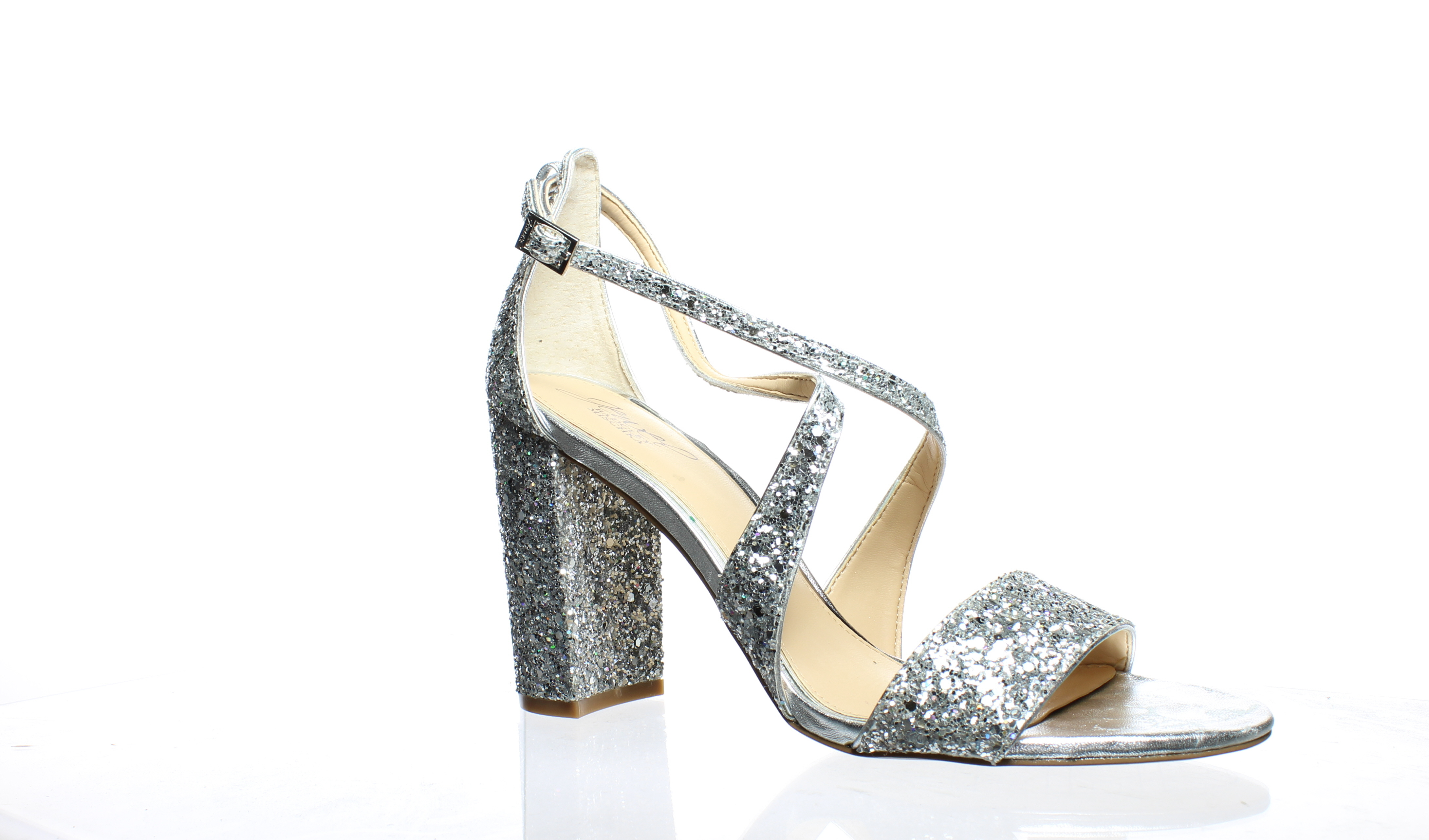 a936425b9f Badgley Mischka Womens Cook Silver Ankle Strap Heels Size 9 (207803 ...