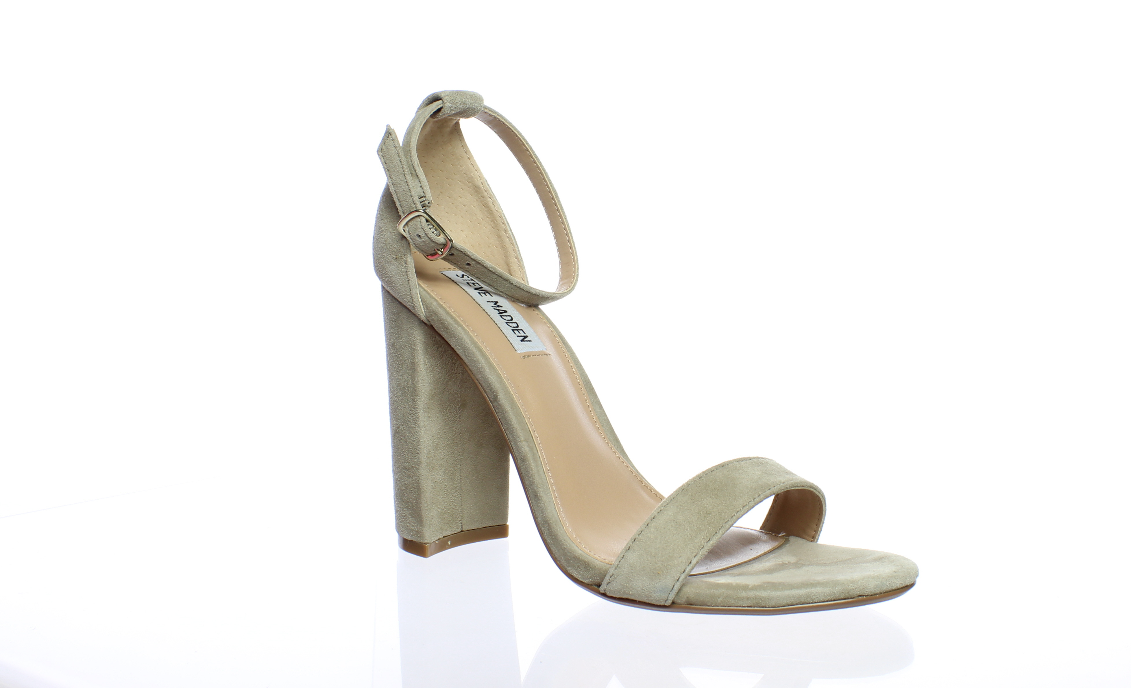 5c339f133b7 Steve Madden Womens Carrson Taupe Suede Ankle Strap Heels Size 7.5 ...