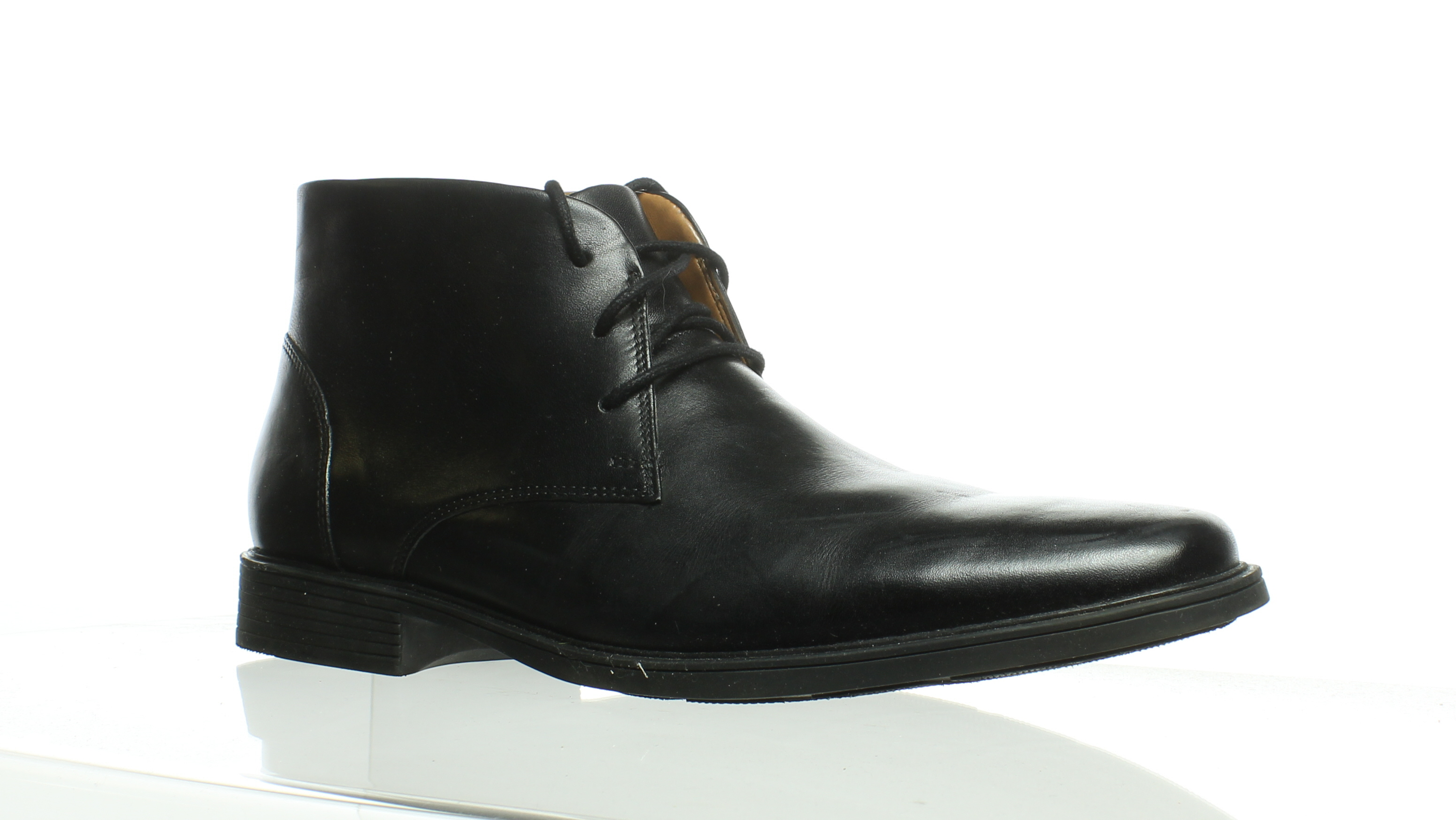 6fdc8b1371f27 Clarks Mens Tilden Top Black Leather Ankle Boots Size 8.5 ...