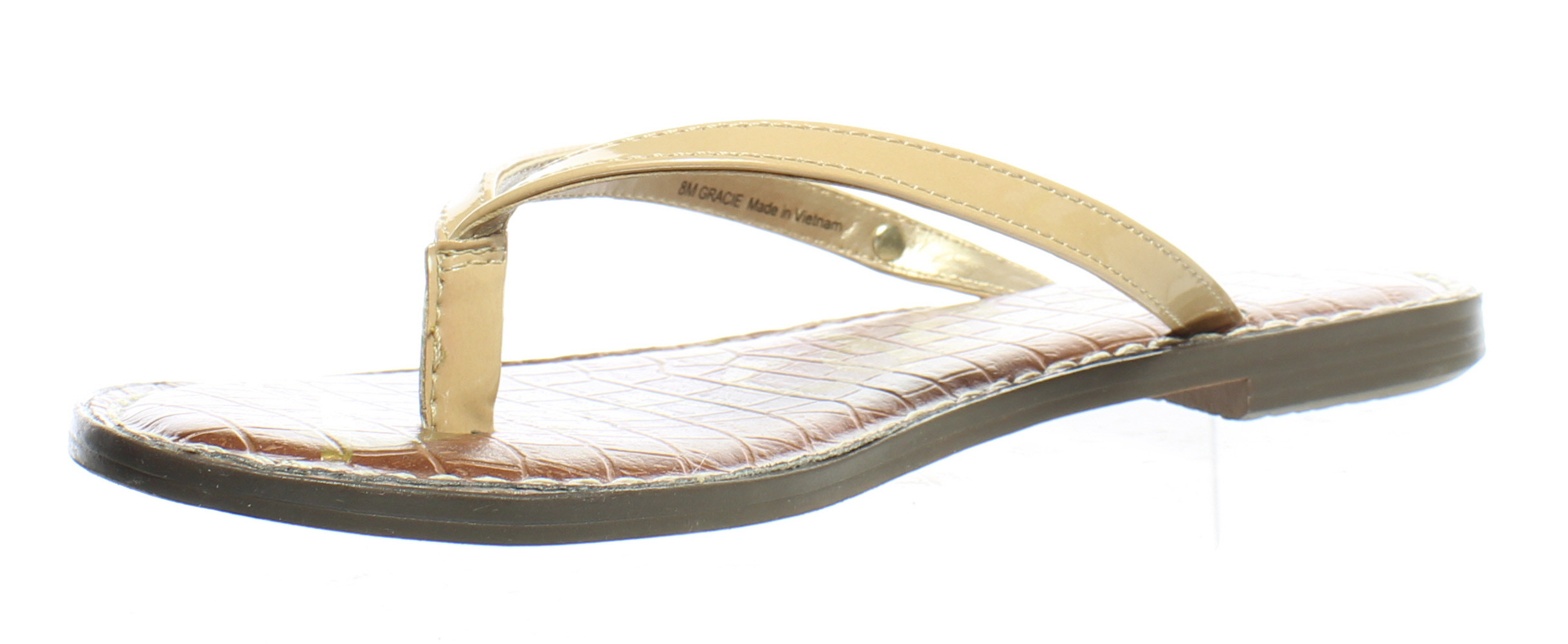 a06c9f1d031f4a ... Picture 2 of 4  Picture 3 of 4  Picture 4 of 4. Sam Edelman Womens  Gracie Almond Patent Flip Flops ...