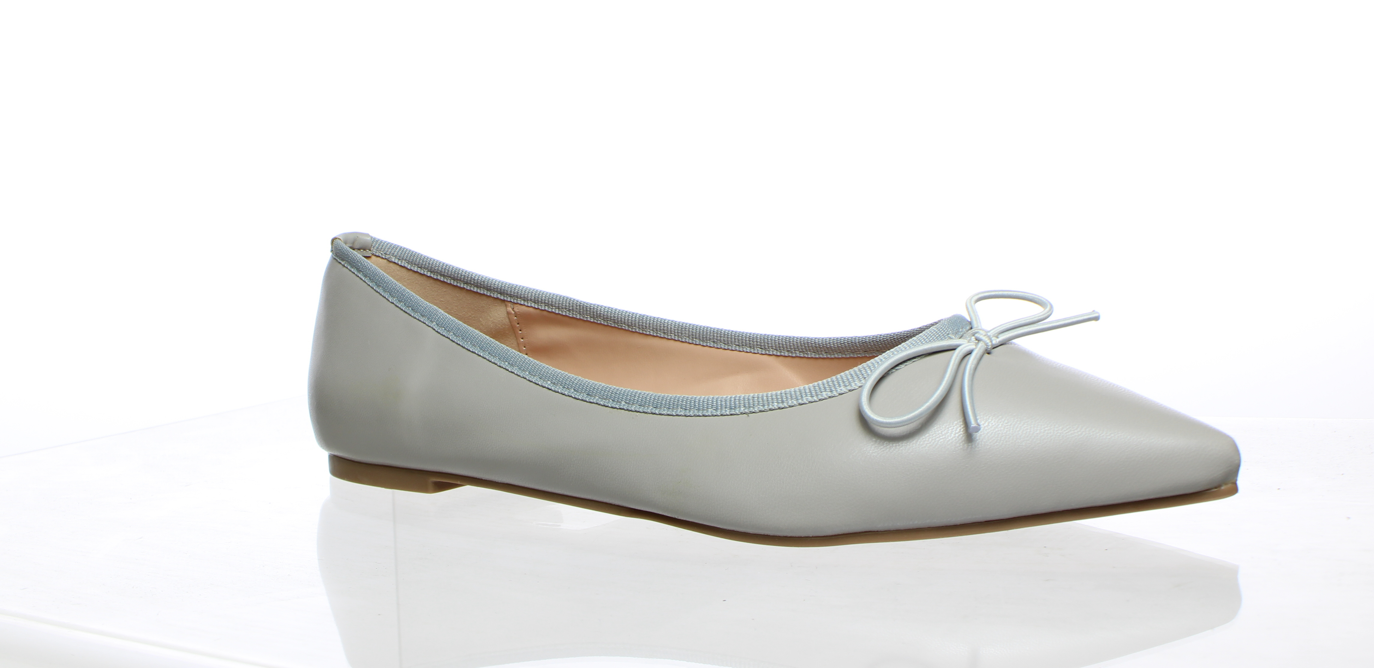 J. Crew Emma Bow Leather Ballet Flats in Gray | Leather