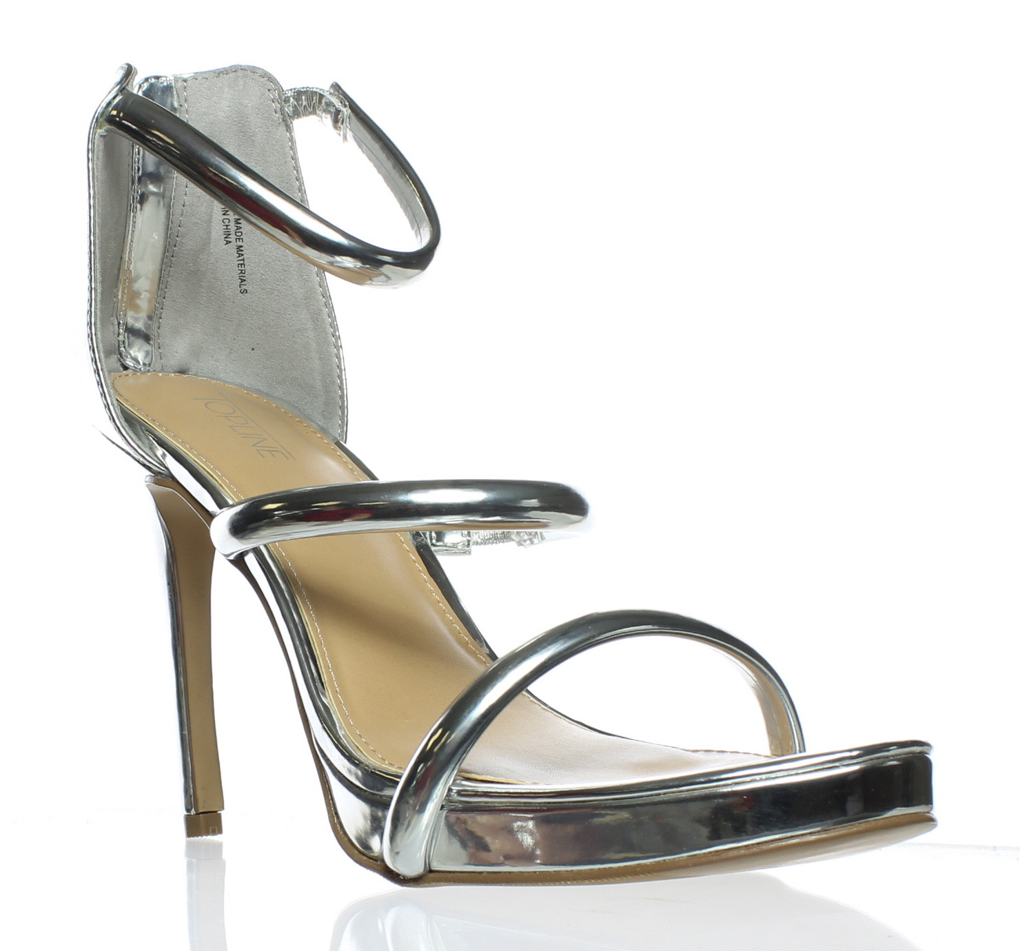 New Top Line Womens Lover Silver Ankle Strap Heels Size 10