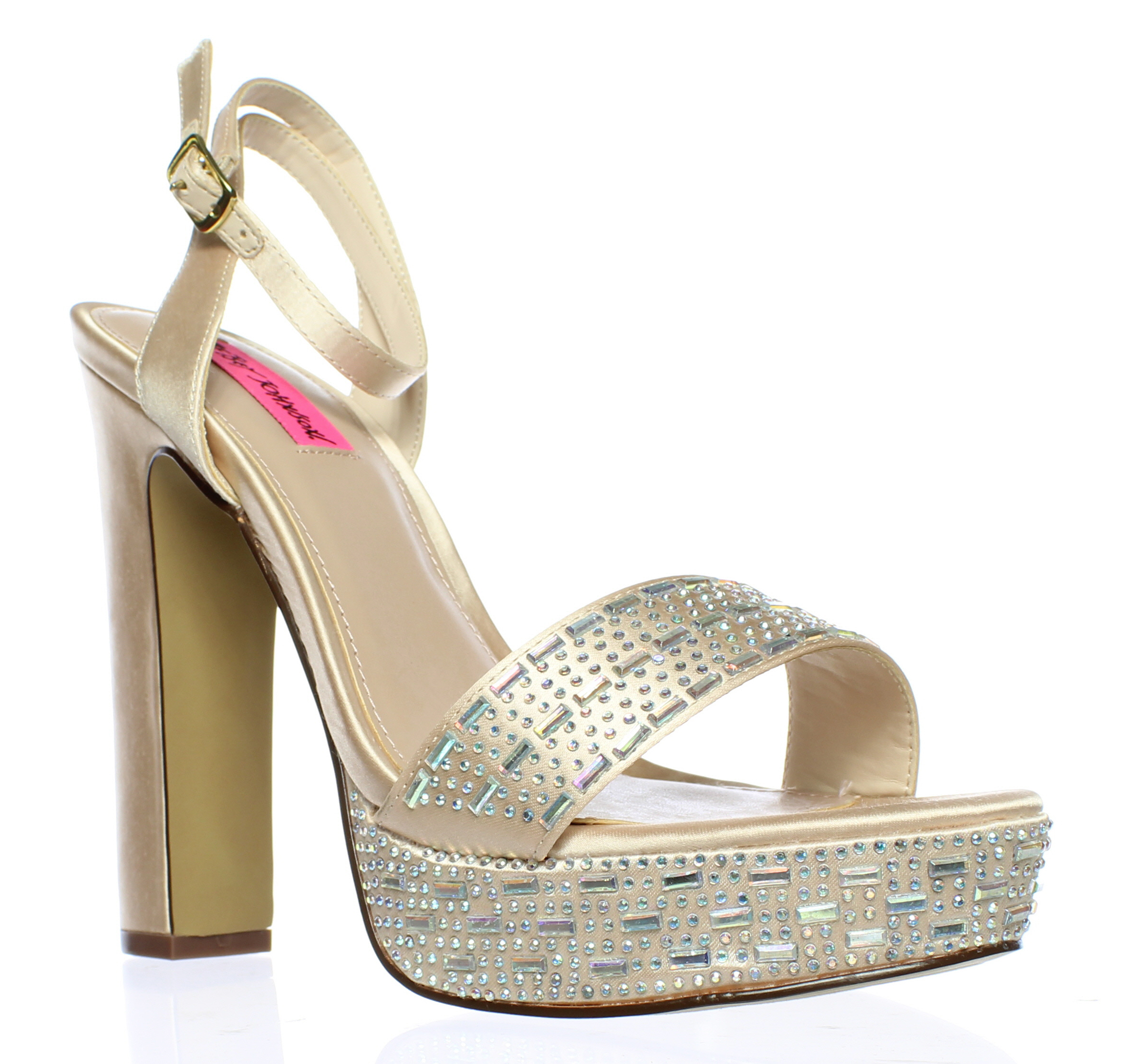 5d5577ebbd5 Betsey Johnson Womens Alliie Champagne Ankle Strap Heels Size 8 ...