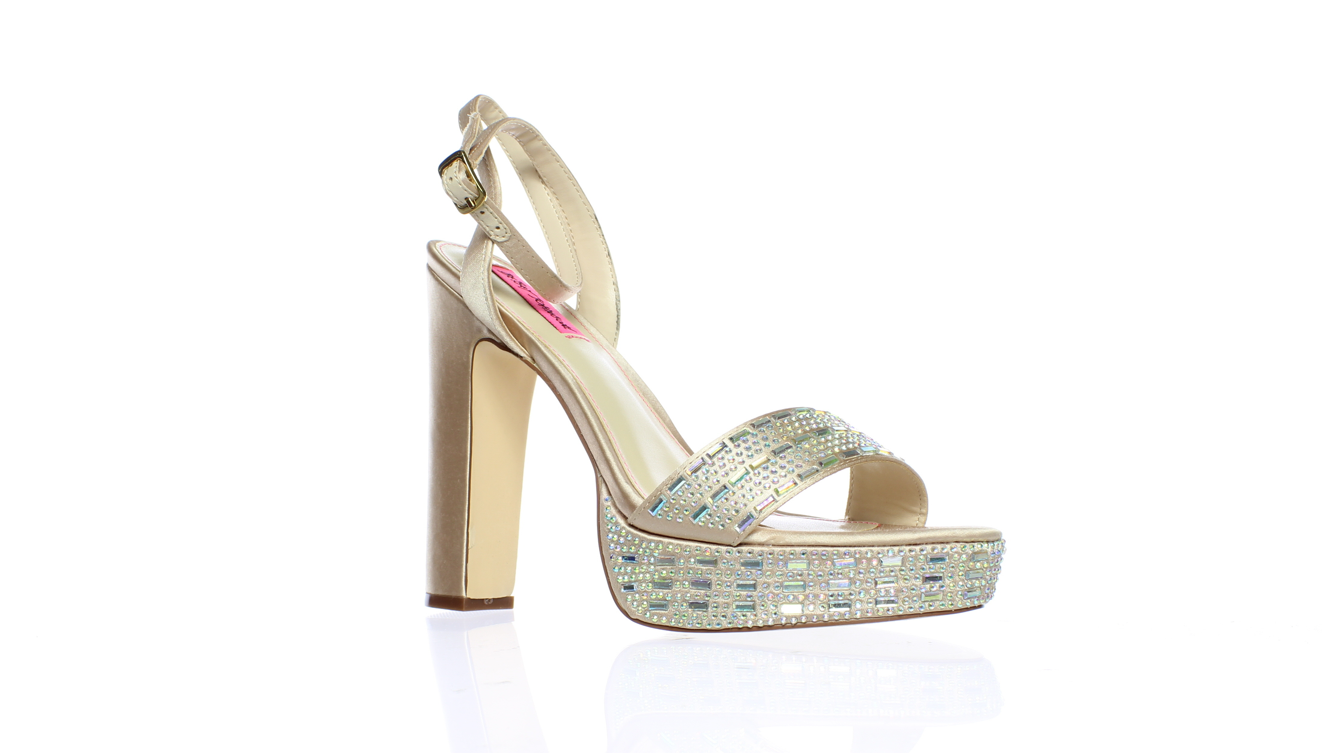 8997d8178a98 Betsey Johnson Womens Alliie Champagne Ankle Strap Heels Size 8 (51054)