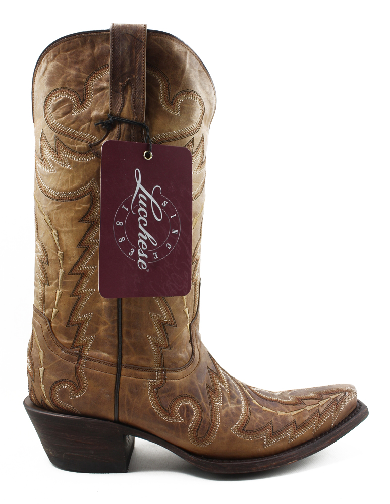 New Lucchese Donna M5721.S54 Camel Tan Cowboy, Western Stivali Size 7